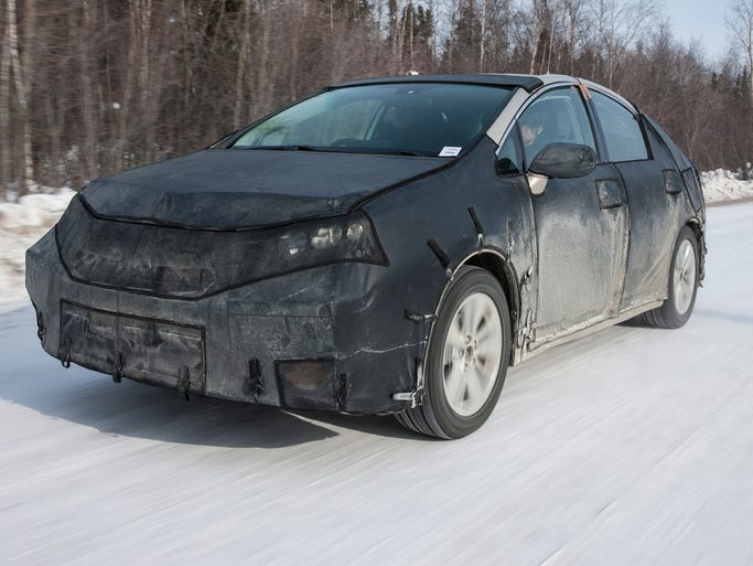 In winter testing, it's tough to recognize under the camouflage as Toyota's hydrogen car