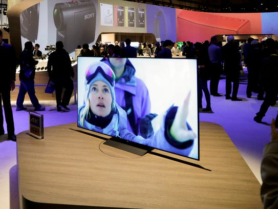 A new X93D series BRAVIA 4K LCD TV sits on display