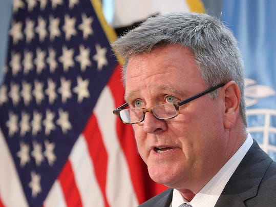 FILE - In this Aug. 1, 2017, file photo, Scott Blackmun, CEO of the U.S. Olympic Committee, speaks at Yongsan Garrison, a U.S. military base in Seoul, South Korea. Blackmun called on his international counterparts to act immediately on allegations of Russian doping, with now less than four months until the start of the Winter Games. ''The time for action is now,'' Blackmun said in an address Thursday, Oct. 12, to the USOC Assembly. (AP Photo/Lee Jin-man, File)