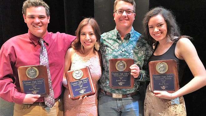 The four Ruidoso High School seniors receiving the Distinguished Warrior Award are from left, Grady Woodul, Alejandra Esparza, Joshua Mader and Breck Gavin