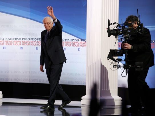 Bernie Sanders takes the stage before the Democratic