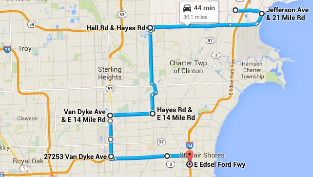This is the route burglars led police on during a chase early today in Macomb County.