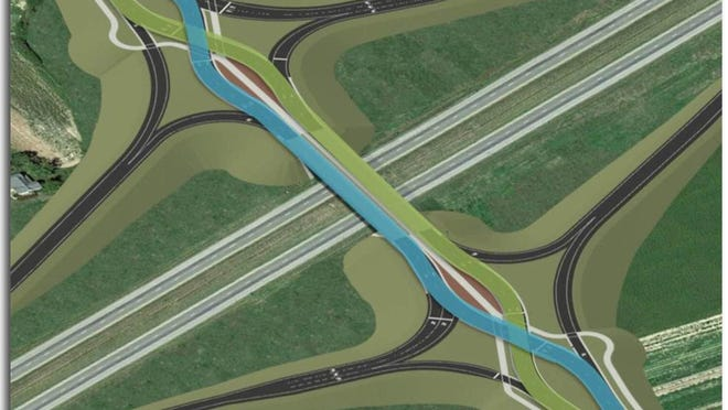 The diverging diamond interchange for I-65 at Worthsville Road opened to traffic Wednesday, Nov. 25, 2015. The design crisscrosses the east- and westbound lanes for a short span to allow cars to enter the highway without turning in front of oncoming traffic.