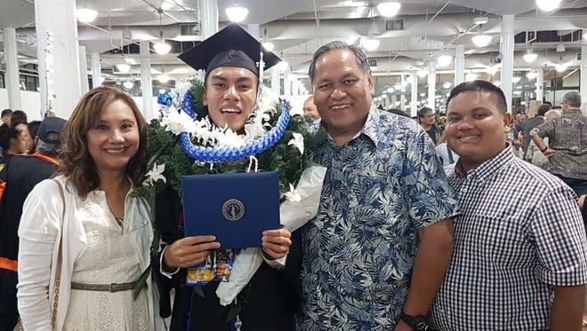 Anthony Alberto Lamorena graduated with a bachelor's degree majoring in Business Administration and a minor in Political Science from Chaminade University in Honolulu, Hawaii on Dec. 18, 2017. Anthony served as the President of the 2017 Chaminade Student Body association, President Chaminade Marianas Club, Member of the Chaminade WASC Steering Committee, Chaminade Freshman Senator, Chaminade Rotaract Vice President. Anthony is currently employed as a Committee Clerk with Hawaii State Representative Sean Qiunlan. Pictured from left: Lisa Lamorena (mother), Anthony, Tony Lamorena (father), Justin Lamorena (brother)