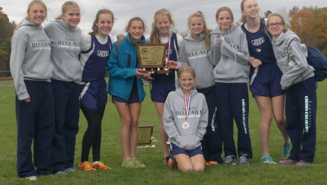 This Granville Middle School girls team won the Licking County League cross country title at Watkins Memorial Saturday by 71 points.