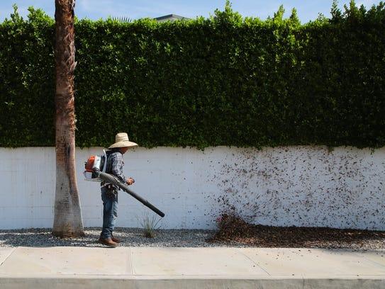 Landscaper Demetrio Vasquez uses a leaf blower to blow