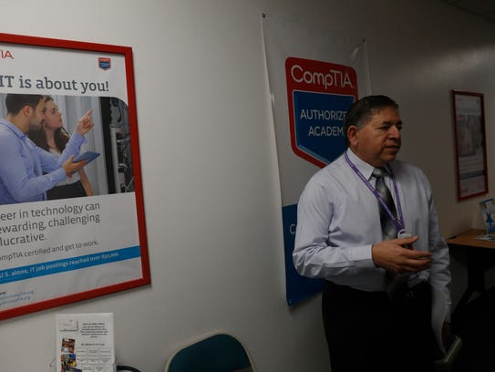 San Juan College Center for Workforce Development Director Lorenzo Reyes talks about the upcoming CyberCon event during an interview on Thursday at San Juan College Quality Center for Business in Farmington.