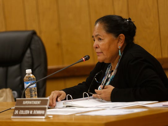 Superintendent Colleen W. Bowman asks a question Tuesday during a Central Consolidated School District board meeting in Shiprock.
