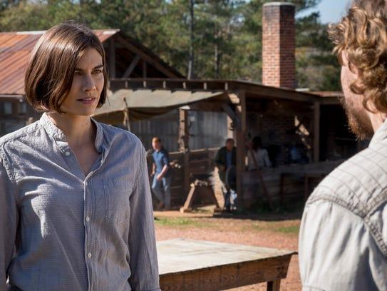 Maggie Rhee (Lauren Cohan, left) lets ex-Savior Alden