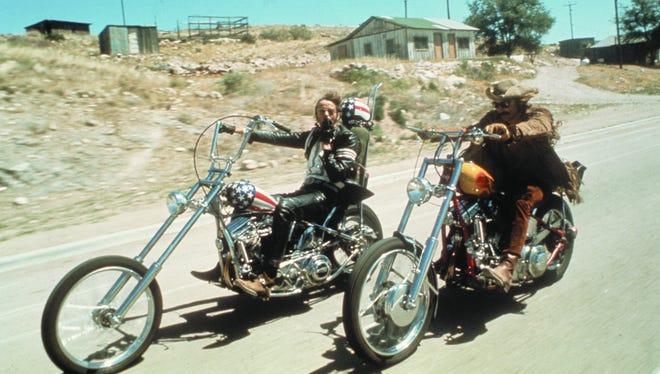 "Peter Fonda (left) and Dennis Hopper in ""Easy Rider."""