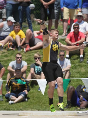 Paint Valley's Jacob Ott throws the shot put during the Division III state track meet Friday at Jesse Owens Memorial Stadium in Columbus. Ott won titles in both shot put and discus.