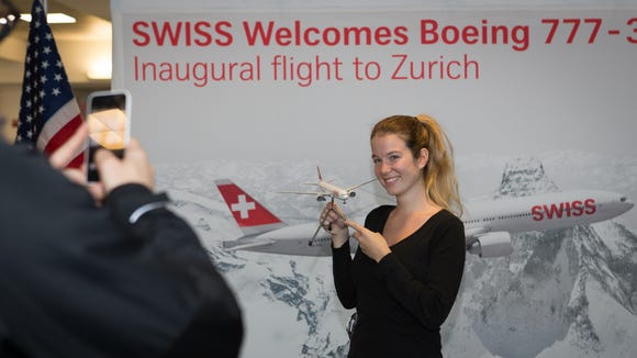 Swiss Airlines provided photo ops for the arrival of