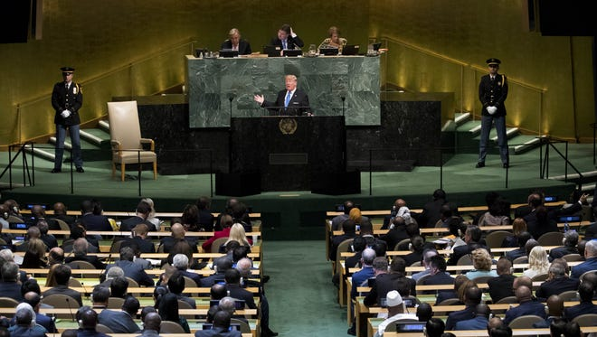 President Trump addresses the United Nations General Assembly at UN headquarters in New York City Tuesday.