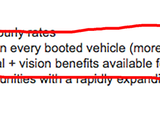 A parking enforcement job posting touted monetary incentives