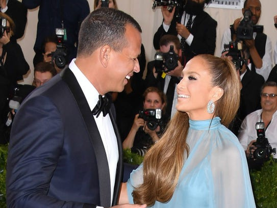 Alex Rodriguez and Jennifer Lopez attend a gala at