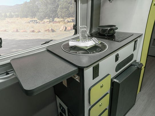 The galley kitchen of Winnebago's Revel motorhome is