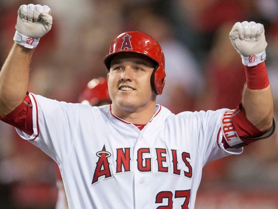 Los Angeles Angels' Mike Trout celebrates after his