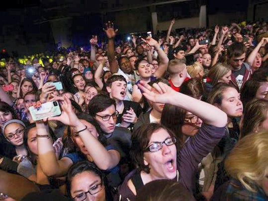 Fans cheer for headliner Panic at the Disco at last year's Launch Music Festival in Lancaster.