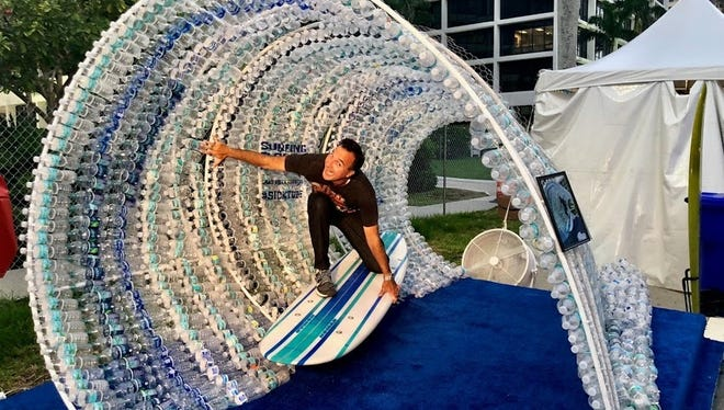 "Surfing Florida Museum's ""Sick Wave"" Photo Op, made from 1600 recycled bottles will be on hand for the event."