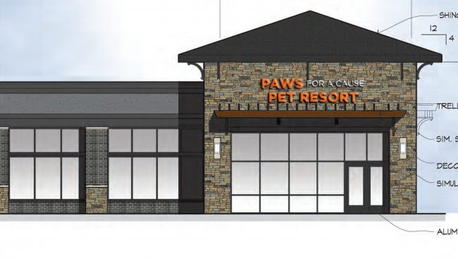 An architectural rendering of the exterior of Paws for a Cause Pet Resort, now under construction at 7121 S. Cliff Ave. in Sioux Falls.