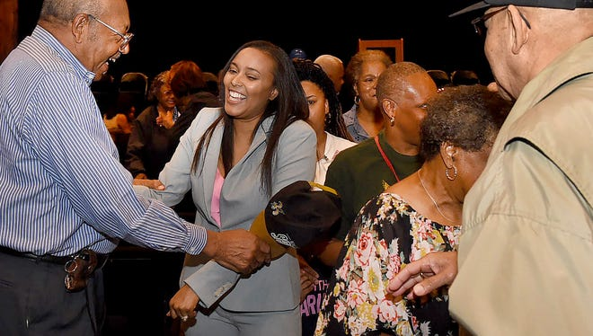 Charlee Renaud Lear is congratulated by supporters after making her announcement to run for mayor of the city of Opelousas. The announcement was made Tuesday at the Delta Grand Theatre. See more photos on the Daily World Facebook site.
