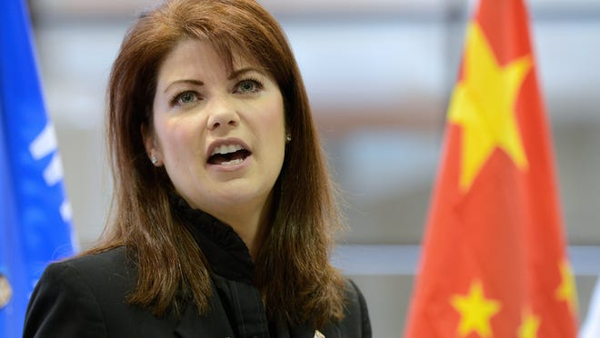 Lt. Gov. Rebecca Kleefisch tells Schneider employees and media about her upcoming trip to China while visiting Schneider in Ashwaubenon on Thursday.