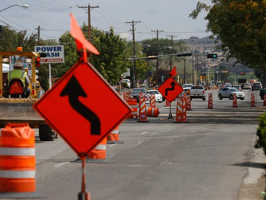 This file photo shows work conducted last fall on E. 20th Street in Farmington aimed at improving safety for pedestrians and bicyclists.