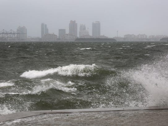 The winds and sea are whipped up off of the Rickenbacker