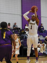 LSUA's Danyale Bayonne (1) shoots a jumper against