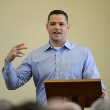 Joe Lombardi, offensive coordinator for the Detroit Lions and grandson of legendary Green Bay Packers head coach Vince Lombardi, speaks during A Day for Men at St. Norbert Abbey in De Pere on Saturday, March 29, 2014.