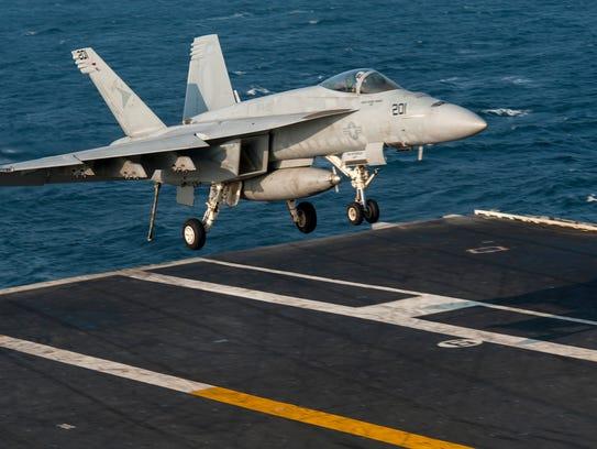 A Navy F-18