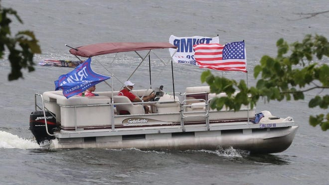Even after a planned boat parade to support President Donald Trump was postponed due to rain, more than 100 vessels still came out on Lake Hopatcong on June 27, 2020.