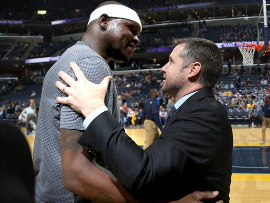 Memphis Grizzlies forward Zach Randolph greets Sacramento Kings head coach - and former Grizzlies coach - Dave Joerger prior to Friday's game at FedExForum.