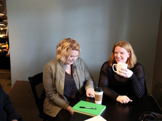 Melissa Lang, left, and Bev Ecklund, who are part of a group that is opening a roller skating fitness space in Salem, talk about the space and the concept during an interview with the Statesman Journal on Friday, March 25, 2016, at IKE Box in Salem.
