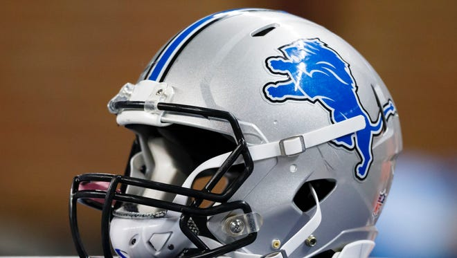 Detroit Lions helmet during an preseason NFL football game against the Buffalo Bills at Ford Field in Detroit, Thursday, Sept. 3, 2015.