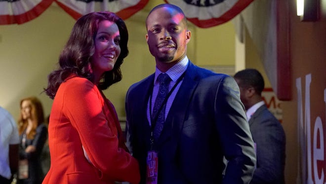 """Bellamy Young and Smith Jr. portray Melle and Marcus, respectively, in the ABC hit drama """"Scandal."""""""