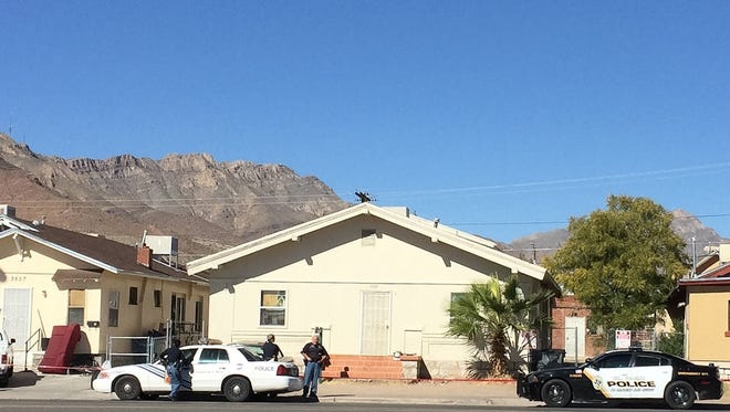 El Paso police on Saturday are shown at the 3500 block of Pershing Drive. A man was critically injured during a shooting in the area early that morning.