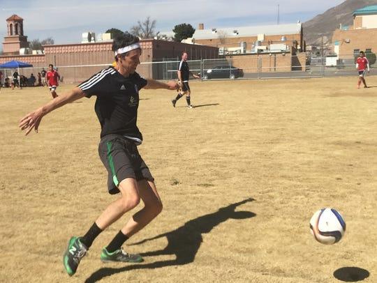 U.S. Rep. Beto O'Rourke, D-El Paso, kicks a soccer
