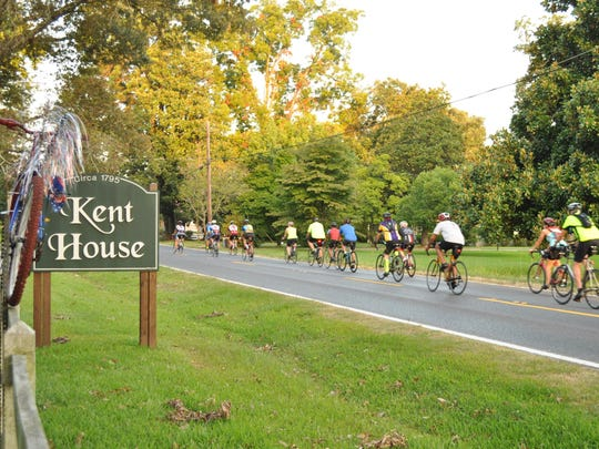 A group of cyclists training for Le Tour de Bayou leave the Kent Plantation House on Saturday morning.