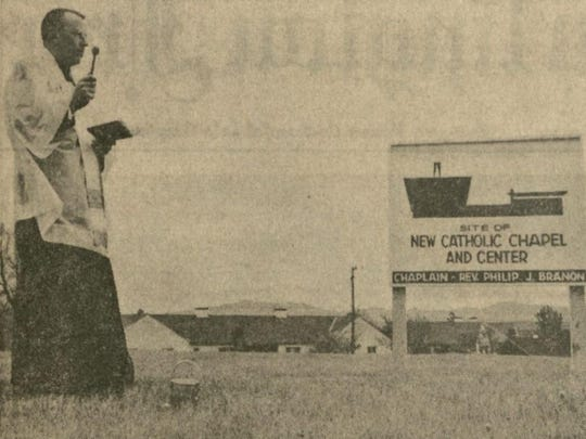 Blessing the future site of The UVM Catholic Center in a photo from the May 22, 1965, Burlington Free Press.