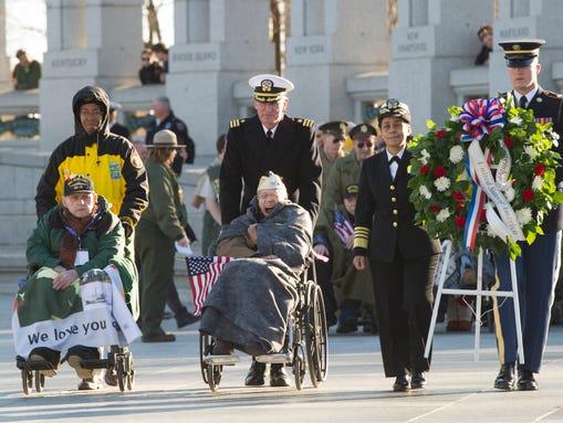 Pearl Harbor survivors from Austin, Texas, visiting