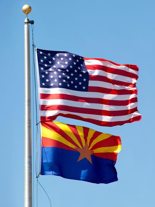 United States and Arizona Flag