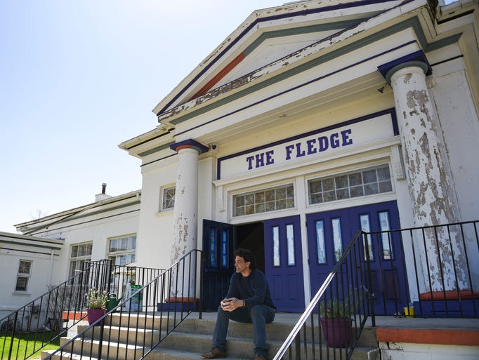 Jerry Norris, founder of The Fledge, sits on the front