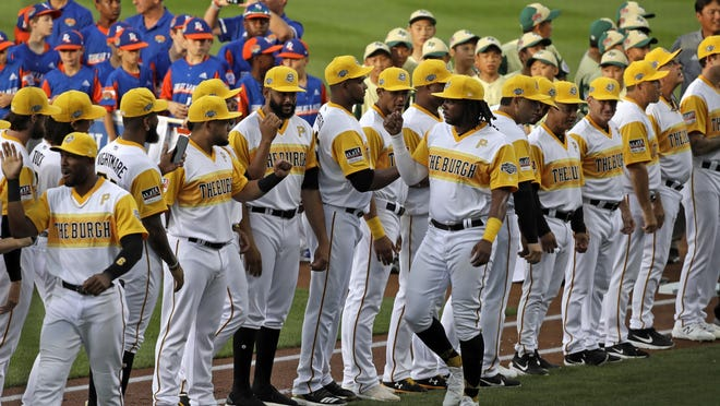 Pittsburgh Pirates player Josh Bell is introduced before last year's Little League Classic game against the Chicago Cubs at Bowman Stadium in Williamsport, Pa.