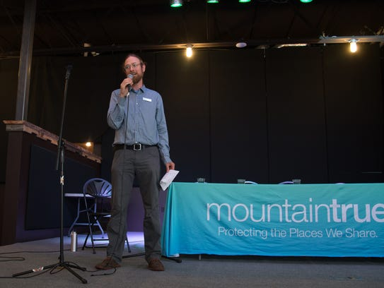 Josh Kelly with MountainTrue speaks at a wildfire panel,