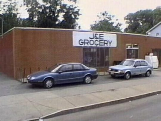The J & E Grocery storefront. The shop closed in 2001.