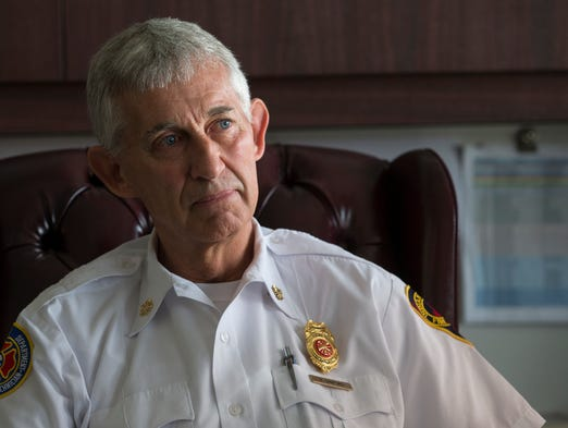 Inside the office of Brian Sanford, who will be retiring this summer as Chief of the Indianapolis Fire Department, Indianapolis, Thursday, April 17, 2014.