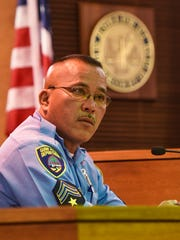 Guam Police Department officer Jed Santo Tomas listens to a question posed by Guam Assistant Attorney General Matthew Heibel during the trial of Mark Omwere at the Superior Court of Guam in Hagåtña on March 30, 2017. Omwere is accused of sexually assaulting a 27-year-old Agana Heights woman at knifepoint in December last year, according to court documents.