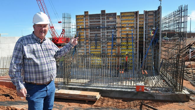 Harold Burris, plant superintendent at the River Road Wastewater Treatment Plant, talks about the progress of construction on the Indirect Potable Reuse project. The new equipment will pump highly-treated effluent water back to Lake Arrowhead instead of releasing it in the Wichita River.