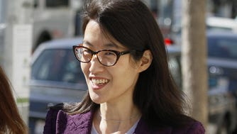 Ellen Pao leaves the Civic Center Courthouse during a lunch break in her trial Tuesday, Feb. 24, 2015, in San Francisco. Pau, the current interim chief of the news and social media site Reddit, is seeking $16 milion in her suit against prominent Silicon Valley venture capital firm Kleiner Perkins Caulfield.